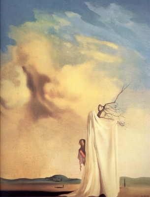 Salvador Dali. Figure and drapery in a landscape