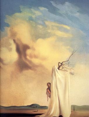 Salvador Dali. Figure and drapery in a landscape