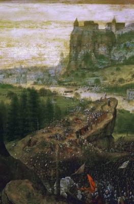 Питер Брейгель Старший. Самоубийство Саула. Фрагмент 3. Поражение армии Савула на горе Гелвуе