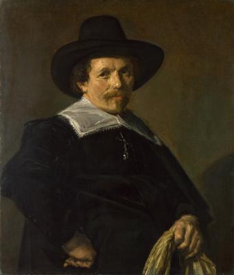 France Hals. Portrait of a man holding gloves
