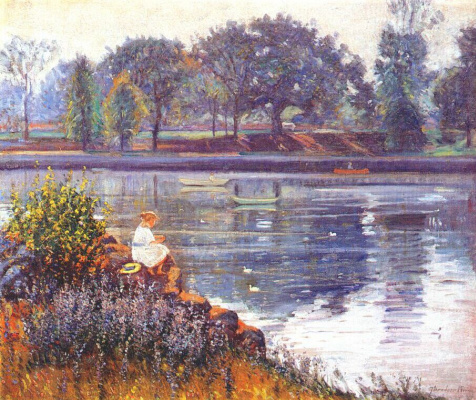 Татьяна Моисеевна Вендель. Девушка сидит на берегу пруда