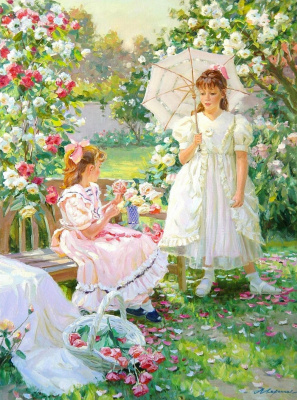 Александр Николаевич Аверин. Девочки в саду.