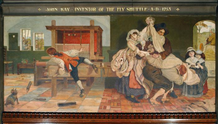 Форд Мэдокс Браун. Джон Кей, изобретатель ткацкого летающего челнока, 1753 год. Фреска мурала здания Манчестерской ратуши