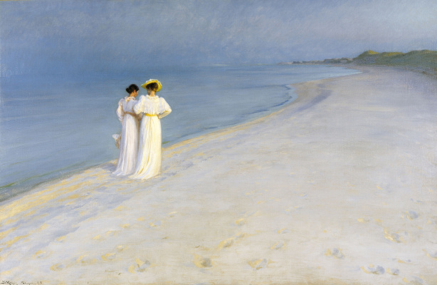 Peder Severin Kreyer. Summer evening on the southern beach of Skagen. Anna Anker and Marie krøyer