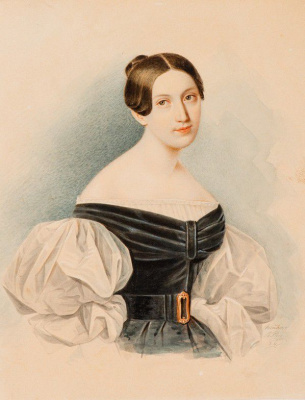 Portrait of an unknown in a black dress with white sleeves-puffs