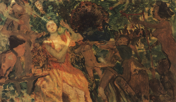 "Constantin Somov. Lyudmila in the garden of Chernomor. On the subject of the poem as Pushkin's ""Ruslan and Lyudmila"""