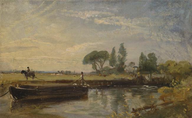John Constable. Баржа у плотины Флэтфорда