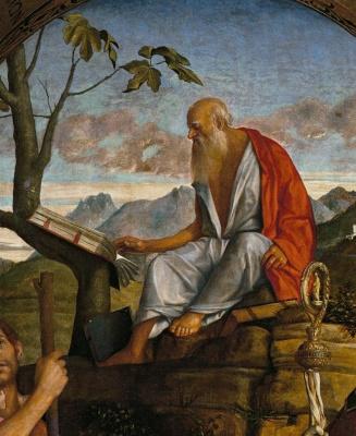 Джованни Беллини. Святой Кристофор, святой Иероним и Луи из Тулузы. Фрагмент. Святой Иероним за чтением