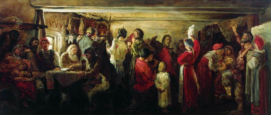 Andrei Petrovich Ryabushkin. Peasant wedding in the Tambov province. 1880 Sketch option.