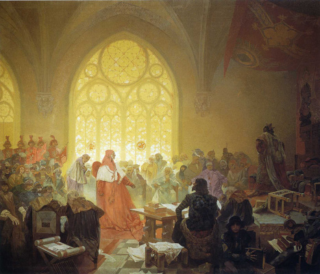 Alphonse Mucha. The Hussite king Jiri Podebradsky. The cycle the Slav epic