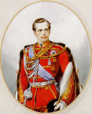 Mikhail Alexandrovich Zichy. Portrait of Tsarevich Grand Duke Alexander Alexandrovich, the chief of the life guard hussar regiment, the uniform of the regiment. 1868