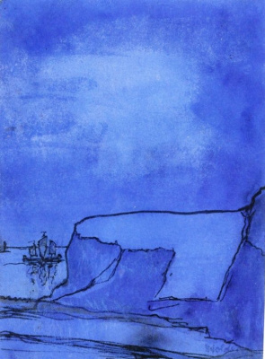 Emil Nolde. Blue coast rock