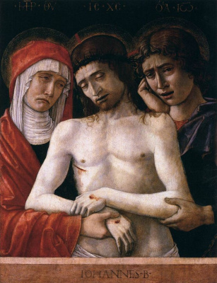 Giovanni Bellini. Pieta. Dead Christ supported by Mary and Saints John