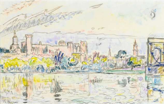 Paul Signac France 1863 - 1935. Avignon, the residence of the popes. Around 1926