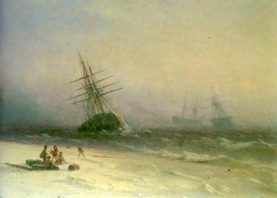 Ivan Aivazovsky. Shipwrecked in the North sea