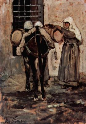 Giovanni Fattori. The nun and the donkey