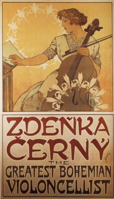 Alfons Mucha. Billboard cellist of Zdenci Black