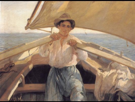 Лауреано Баррау. Молодой человек в лодке
