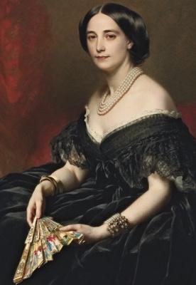 Franz Xaver Winterhalter. Portrait of a lady with a fan. Fragment