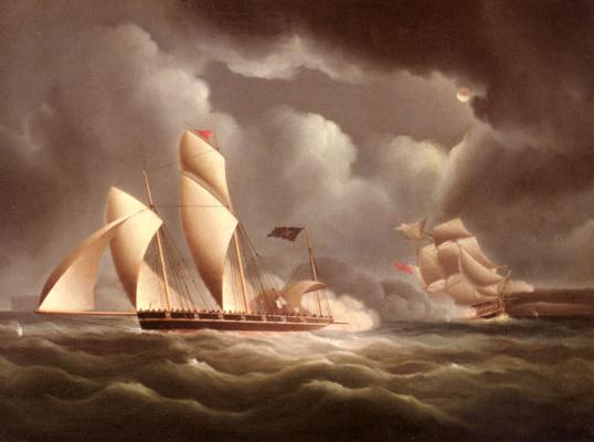 Джеймс Эдвард Баттерсвортс. Британский фрегат, атакующий пиратский люггер ночью