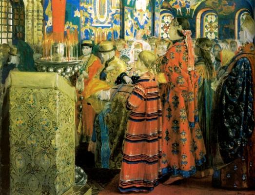 Андрей Петрович Рябушкин. Русские женщины 17 столетия в церкви