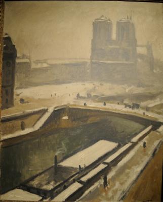 Albert Marquet. Notre Dame in snow.