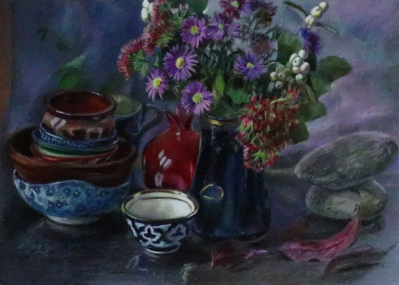 Sophia Khasanova. Stones, flowers, bowl, pomegranate and cups