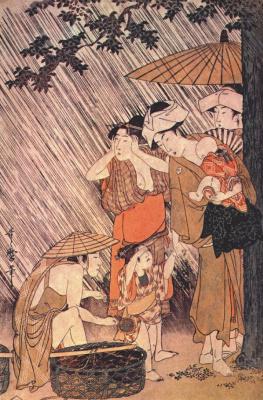 Китагава Утамаро. Ливень 2-левая панель
