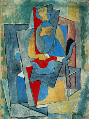 Pablo Picasso. Woman sitting in red chair