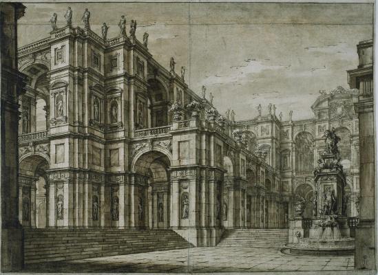 Джузеппе Валериани. Дворец с многочисленными скульптурами в нишах и фонтаном