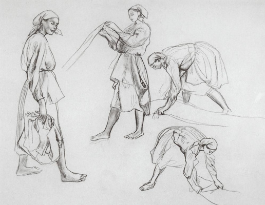 "Zinaida Serebryakova. The four female figures. Sketches for painting ""canvas Whitening"""