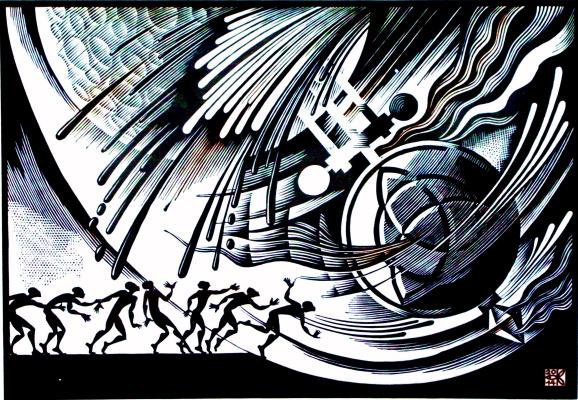 "Vladimir Kataev. ""Triskel' – 1"", linocut, 50 X 72, 2014"