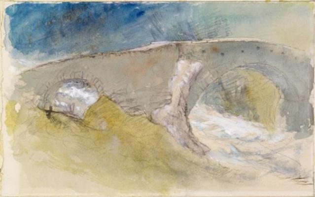 John Ruskin. Old bridge over a mountain stream