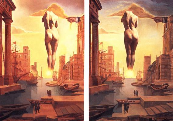 Сальвадор Дали. Рука Дали похищает золотое руно, имеющее форму облака, чтобы показать Гала-зарю, совершенно обнаженную, - там, далеко, очень далеко, по ту сторону солнца