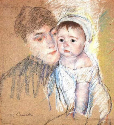 Mary Cassatt. Baby bill in cap and gown