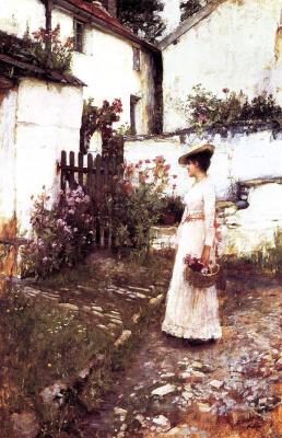 Джон Уильям Уотерхаус. Сбор летних цветов в Девонширском саду