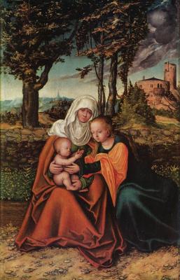 Лукас Кранах Старший. Св. Анна с Марией и младенцем