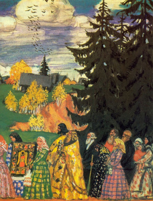 Boris Mikhailovich Kustodiev. Procession. The thumbnail option. Fragment