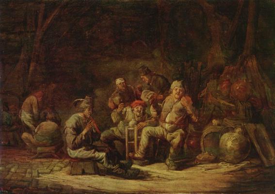 Benjamin Gerrit Cape. Peasants in a barn