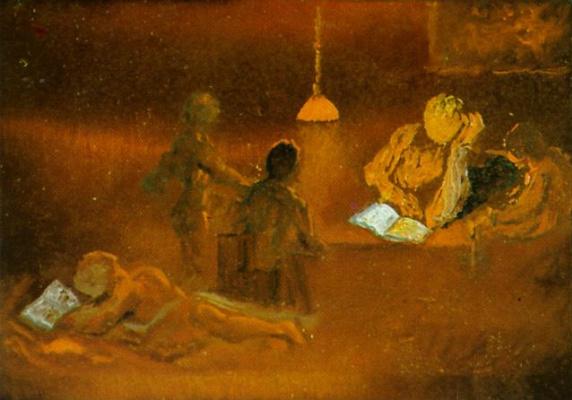 Salvador Dali. Reading. Family scene with artificial light