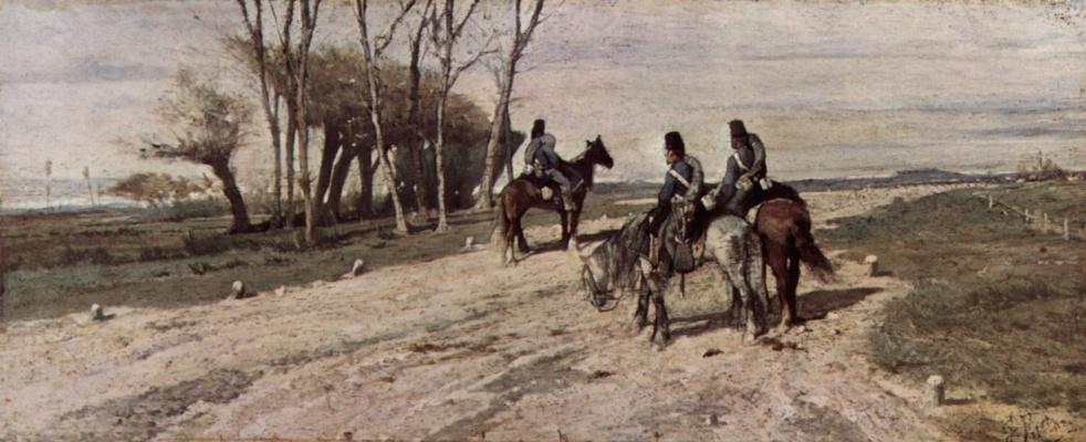 Giovanni Fattori. Three cavalry on the road