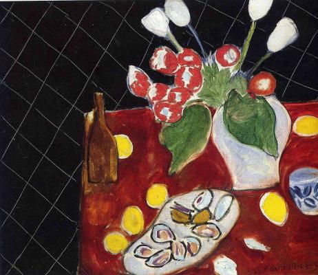 Анри Матисс. Тюльпаны и устрицы на черном фоне