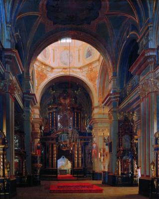 Sergey Konstantinovich Zaryanka. Interior view of the sea Nikolsky Cathedral in St. Petersburg