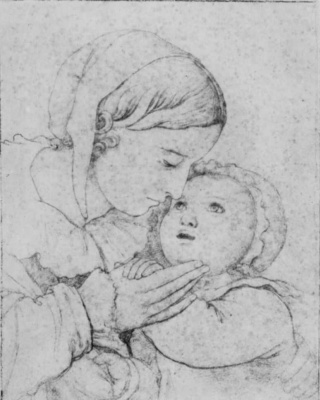 Johann Friedrich Overbeck. Frau Nina Overbeck and his son Alphonse