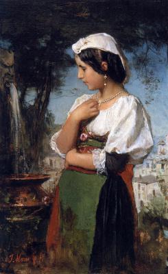 Якоб Хендрик Марис. Итальянка рядом с фонтаном