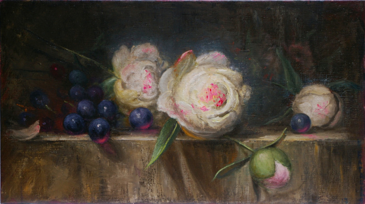 Natalia Bagatskaya. Still life with Peonies and Grapes