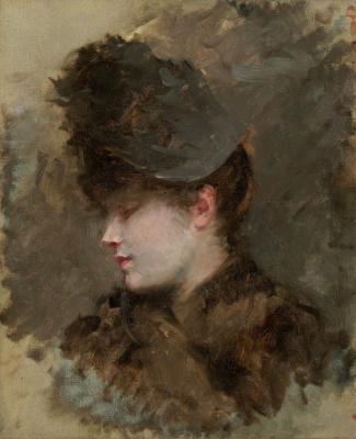 Джузеппе де Ниттис. Голова женщины в профиль в шляпе