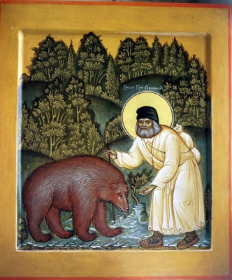 Moscow Icon Painting Workshop. Seraphim with the bear, 31 x 27 cm, min. temp. gold,author