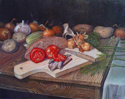 Stepan Vladimirovich Kashirin. Still life with anchovies.