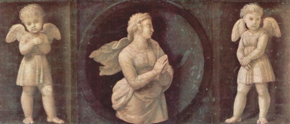 """Рафаэль Санти. Алтарь Бальони. Пределла """"Богословские добродетели"""". Вера и два ангела"""